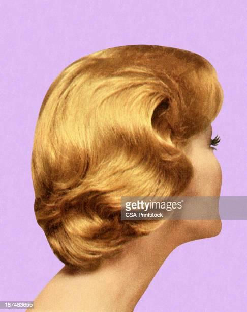 illustrazioni stock, clip art, cartoni animati e icone di tendenza di vista posteriore della donna di stile di capelli - capelli o peli