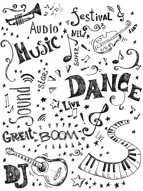 Background Made Up Of Music Doodles Wall Art