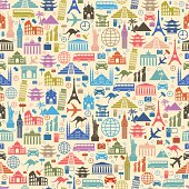 Background with colorful travel icons
