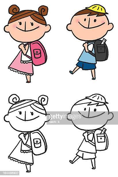 illustrations, cliparts, dessins animés et icônes de sac à dos - première rentrée scolaire