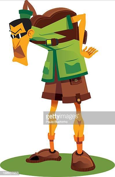 ilustrações de stock, clip art, desenhos animados e ícones de a backpacker - buchinho