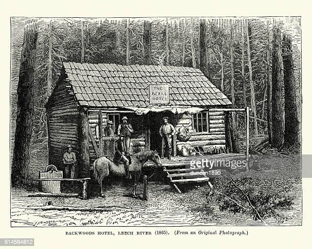 backwoods hotel, leechtown, british columbia, 1865 - gold rush stock illustrations