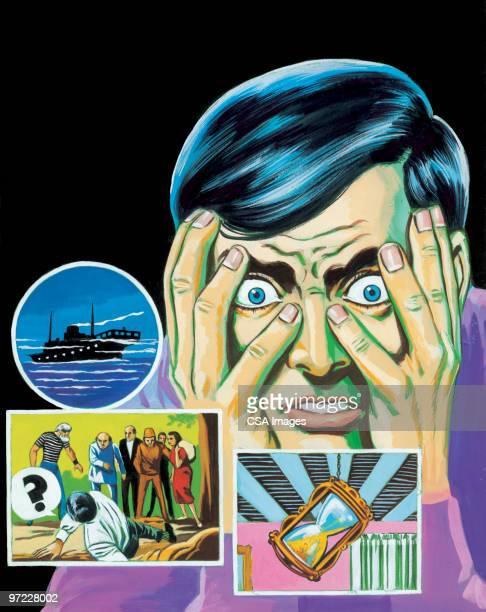 bad dreams - hypnosis stock illustrations, clip art, cartoons, & icons