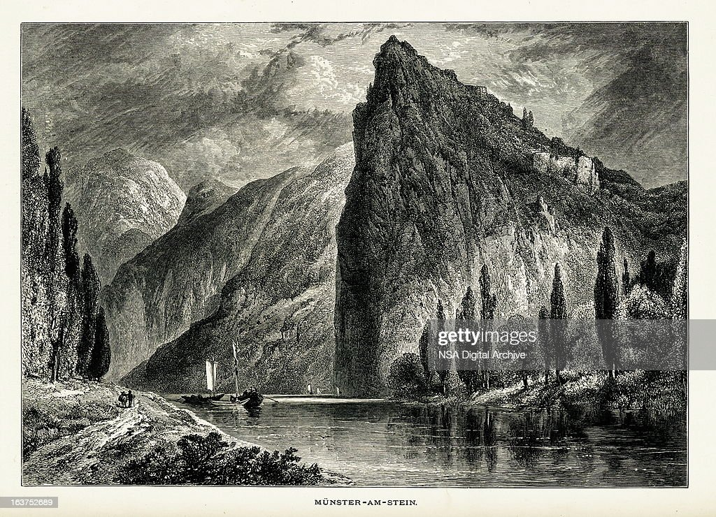 Bad Munster Am Stein Ebernburg, Germany I Antique European Illustrations :  Stock Illustration