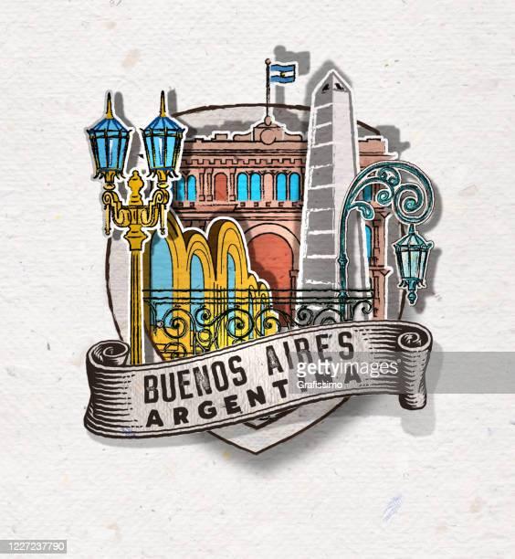 illustrazioni stock, clip art, cartoni animati e icone di tendenza di distintivo di buenos aires argentina con importanti edifici e simboli - buenos aires