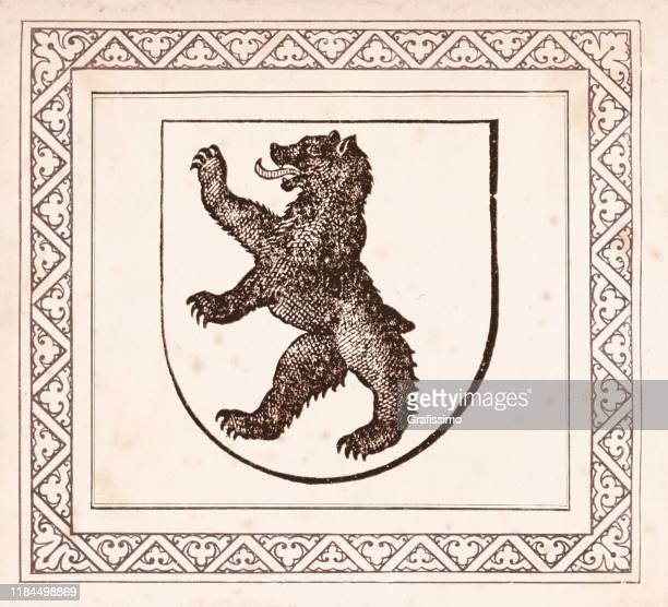 badge with bear from appenzell switzerland - german culture stock illustrations