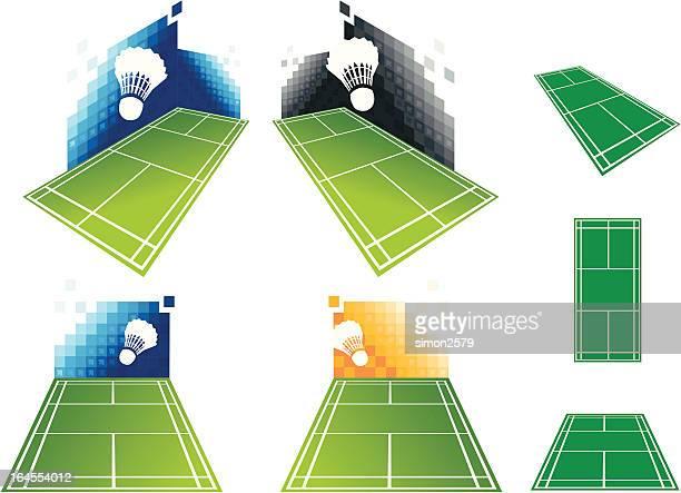 badminton court - badminton smash stock illustrations