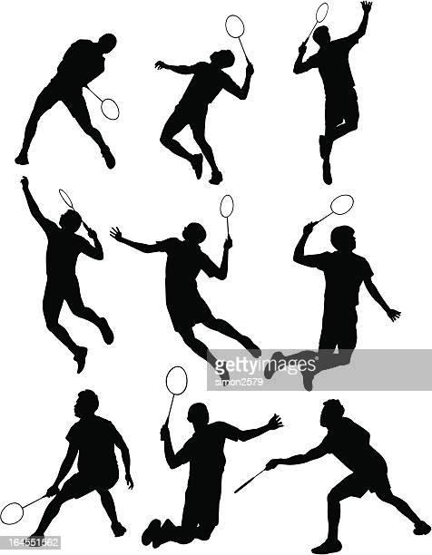 バドミントンシルエット - スポーツ バドミントン点のイラスト素材/クリップアート素材/マンガ素材/アイコン素材