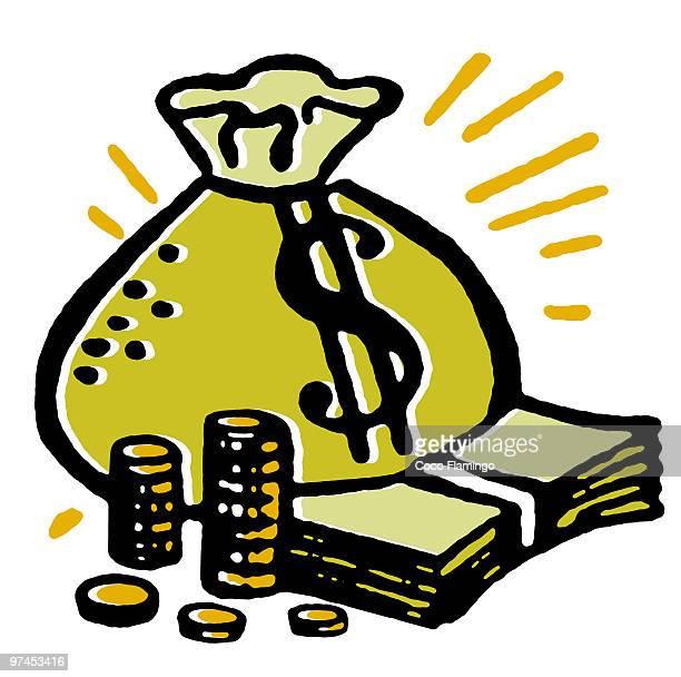 ilustraciones, imágenes clip art, dibujos animados e iconos de stock de a bag and piles of cash - fajo de billetes