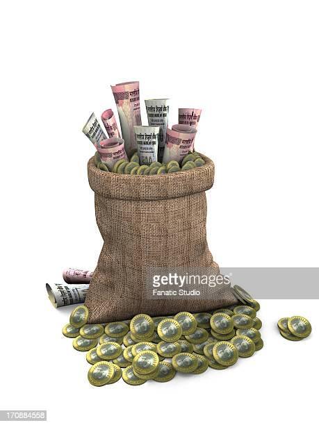 bag of money - cash flow stock illustrations, clip art, cartoons, & icons