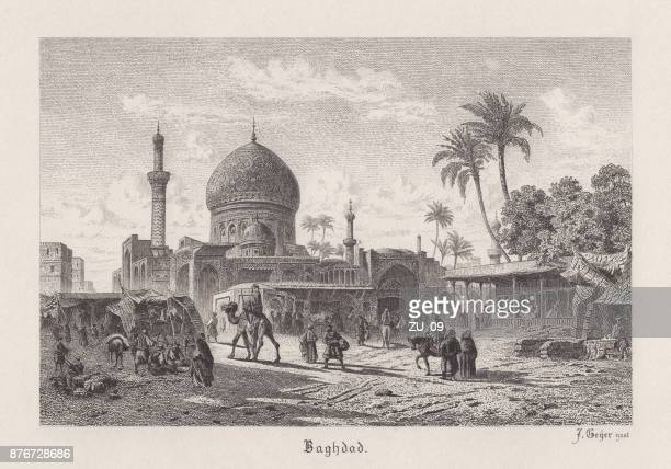 baghdad, capital of iraq, steel engraving, published in 1885 - baghdad stock illustrations