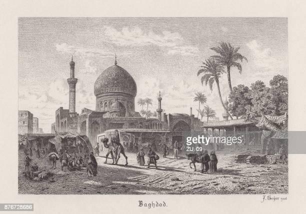 スチールの彫刻、イラクの首都バグダッドが 1885 年に掲載 - バグダッド点のイラスト素材/クリップアート素材/マンガ素材/アイコン素材