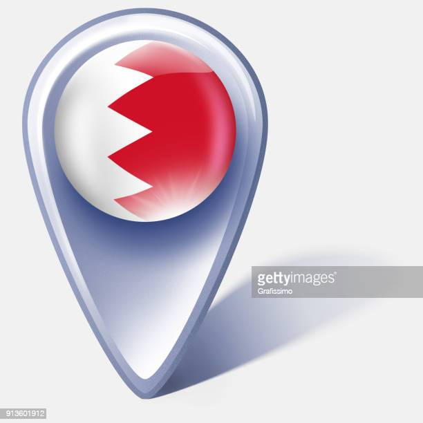 bahrain button map pointer with bahraini flag isolated on white - bahrain stock illustrations, clip art, cartoons, & icons