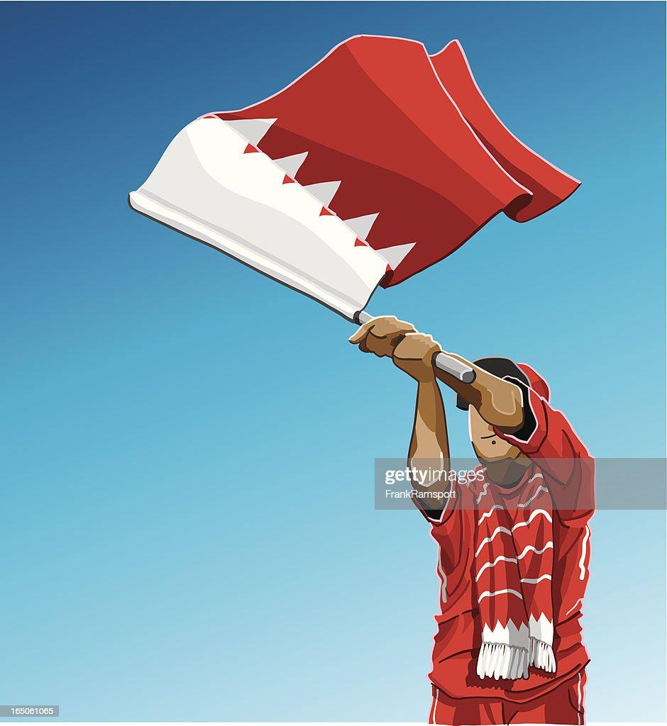 Bahrain Waving Flag Soccer Fan : stock illustration
