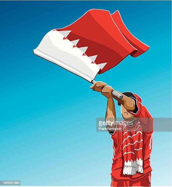 bahrain waving flag soccer fan - bahrain stock illustrations, clip art, cartoons, & icons