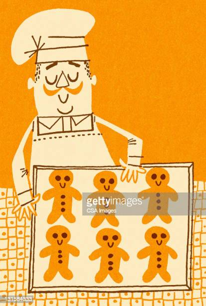baker and gingerbread men - boulanger stock illustrations
