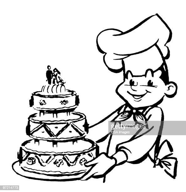 baker - wedding cake stock illustrations