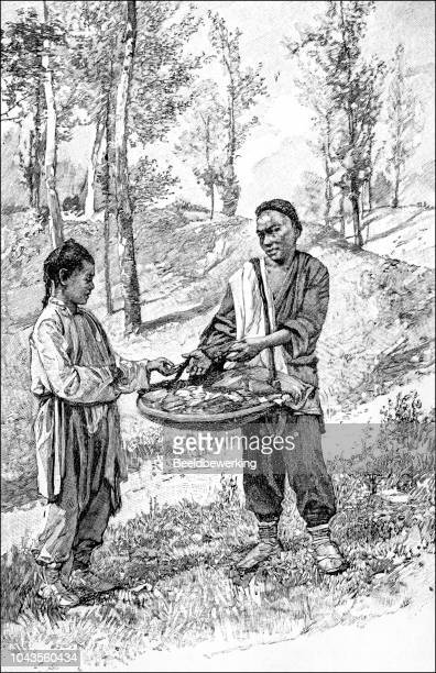 Baker selling cakes in China russia border area illustration 1895 'the Earth and her People'