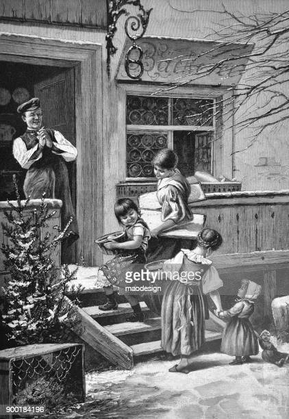 baker welcomes children in front of the bakery - 1896 - archival stock illustrations, clip art, cartoons, & icons