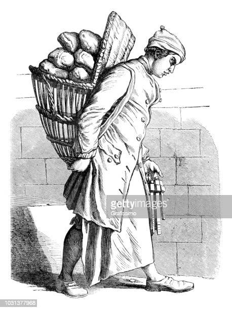 baker with bread on the back 18th century illustration - history stock illustrations, clip art, cartoons, & icons