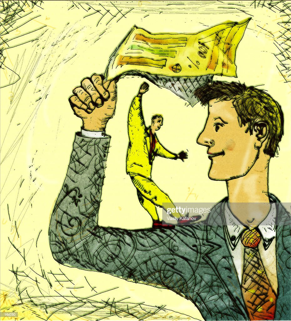 Balancing on Another Man's Arm : Stock Illustration
