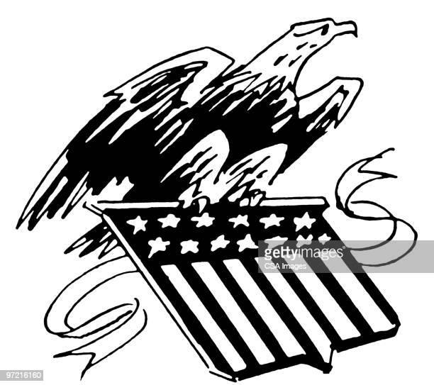 bald eagle with flag crest - bald eagle stock illustrations