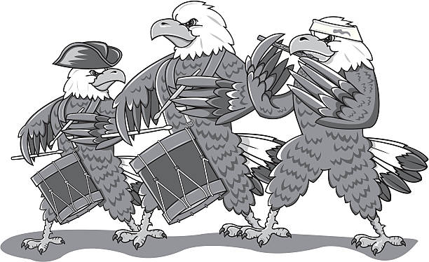 Bald eagles marching in a band