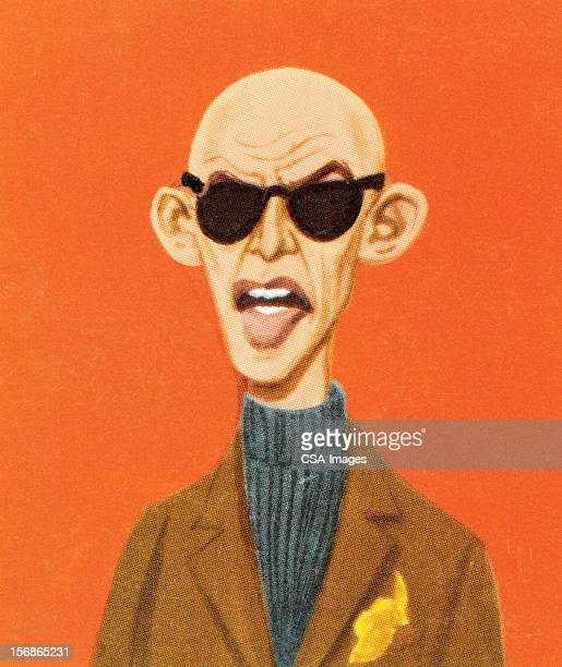 bald man in tweed and sunglasses - ugly bald man stock illustrations