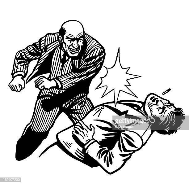 Uomo di colpire un altro uomo calvo