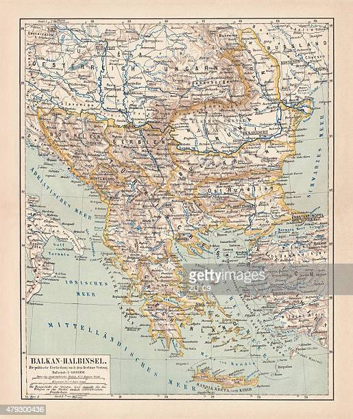 balkan peninsula in 1878, lithograph - greece v albania stock illustrations
