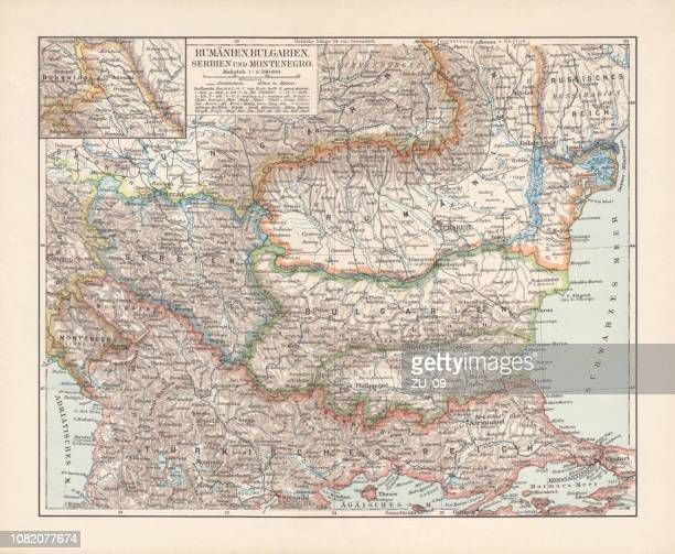 Balkan States: Romania, Bulgaria, Serbia and Montenegro, lithograph, published 1897