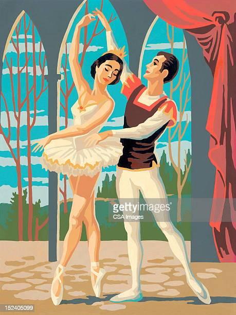 ilustraciones, imágenes clip art, dibujos animados e iconos de stock de bailarines de ballet - pareja bailando cuerpo entero