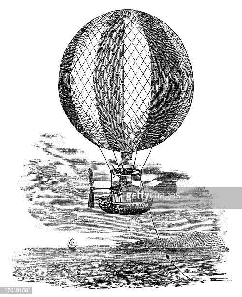 Balloon preparing to cross the Atlantic (1840 engraving)