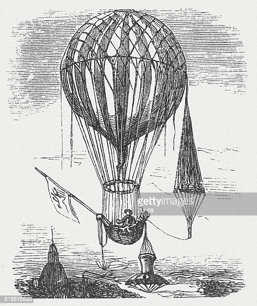 balloon with parachutes by étienne-gaspard robert (belgian physicist, 1763-1837) - physicist stock illustrations, clip art, cartoons, & icons