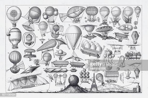 balloons, airships and flying machines engraving from 18th century france - woodcut stock illustrations