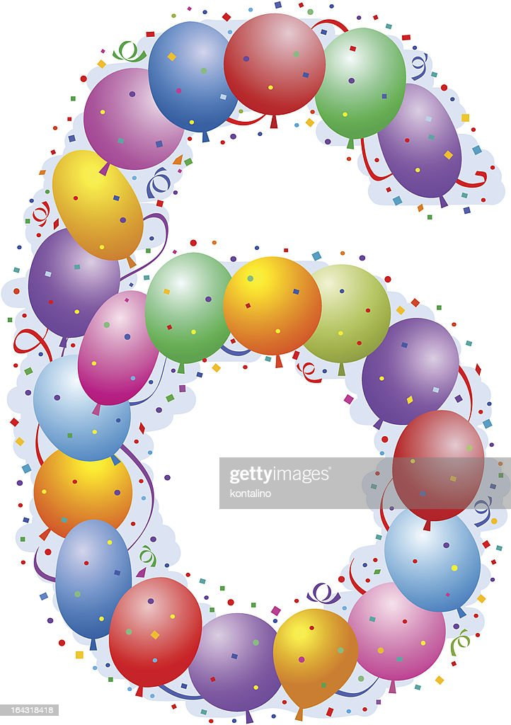 Balloons And Confetti Number Six stock vector | Getty Images