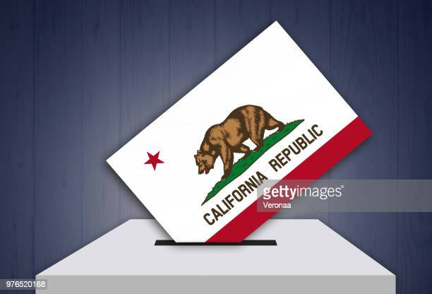 ballot box - election - california, usa - royal blue stock illustrations