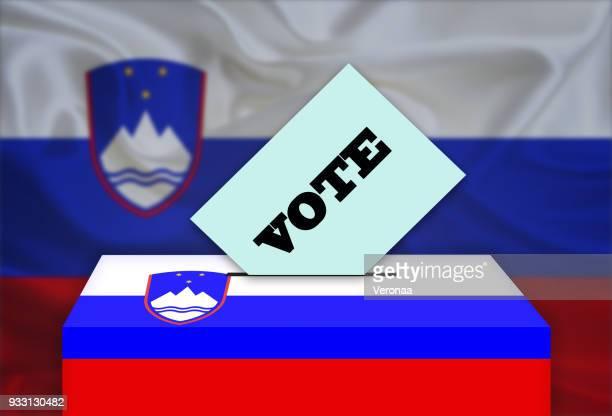 投票箱、国家フラグ背景-スロベニア - スロベニア国旗点のイラスト素材/クリップアート素材/マンガ素材/アイコン素材