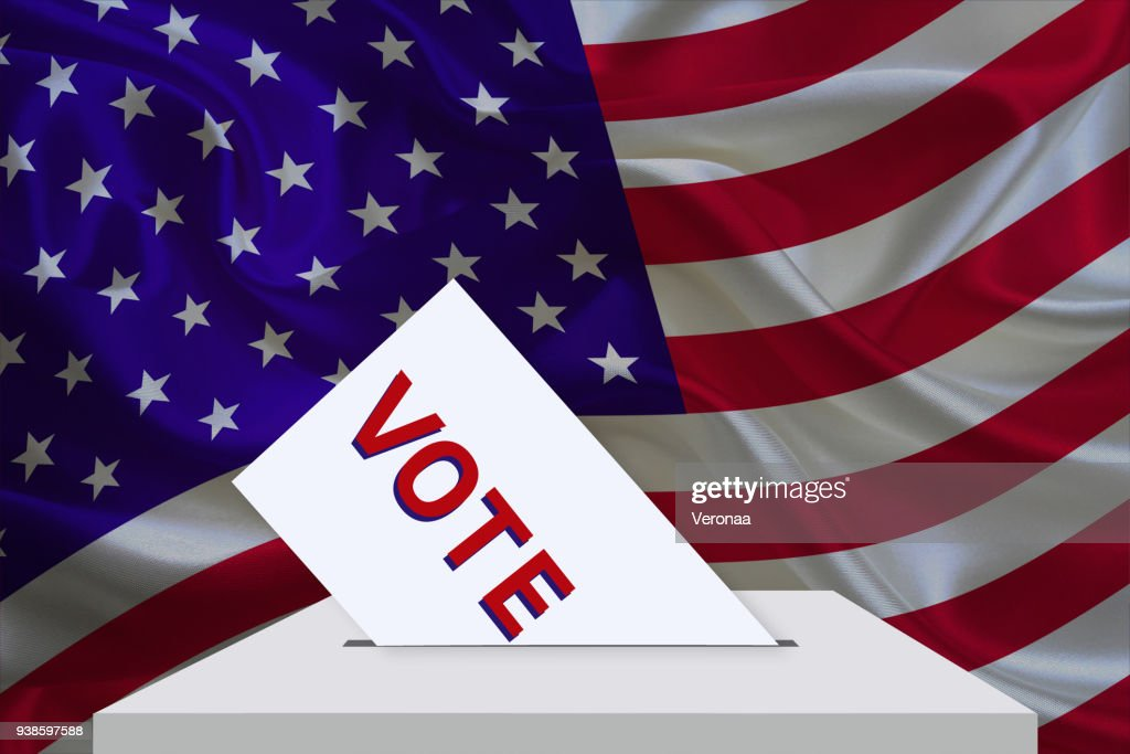 Ballot Box With National Flag On Background United States Of America