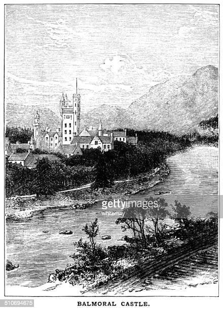 balmoral castle (viktorianischen gravur) - balmoral castle stock-grafiken, -clipart, -cartoons und -symbole