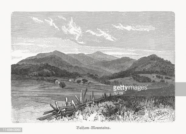 balsam mountains, north carolina, usa, wood engraving, published 1897 - appalachia stock illustrations