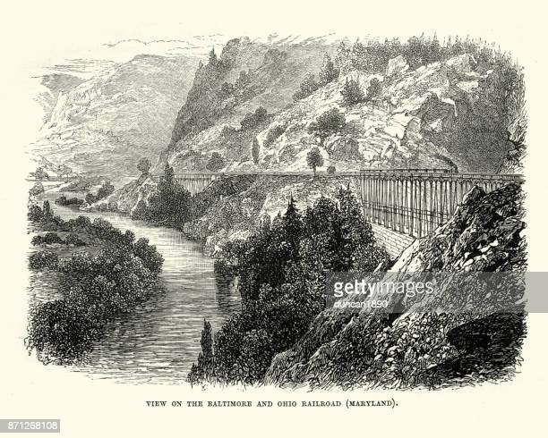 baltimore and ohio railroad, 19th century - baltimore maryland stock illustrations, clip art, cartoons, & icons