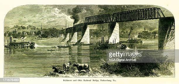 baltimore and ohio railroad bridge, usa, wood engraving (1872) - virginia us state stock illustrations