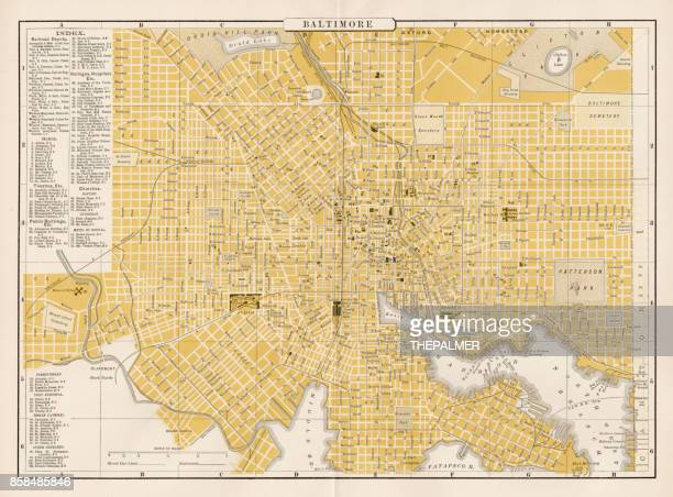 baltimore city map 1893 - baltimore maryland stock illustrations, clip art, cartoons, & icons