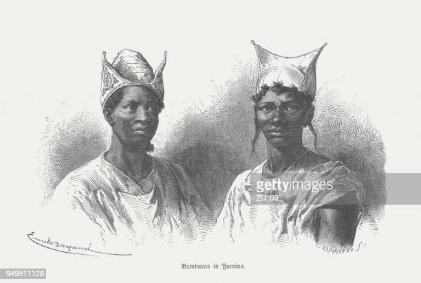 Bambara people in Yamina, Mali, wood engraving, published in 1868