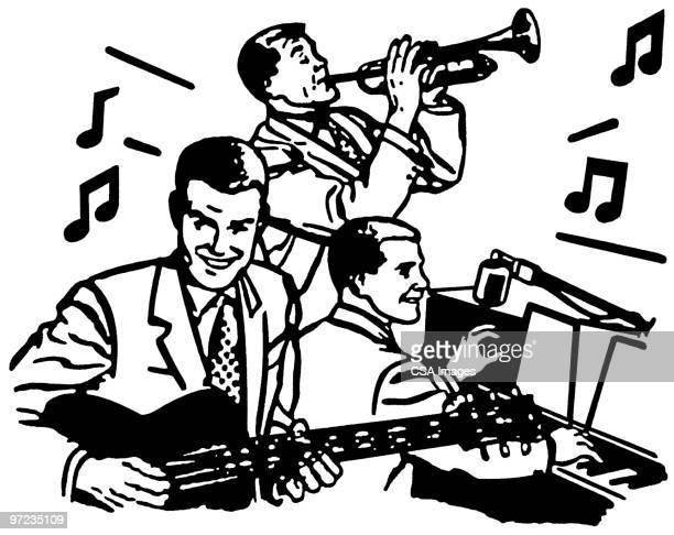 band - jazz stock illustrations, clip art, cartoons, & icons