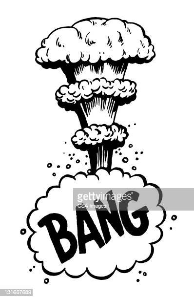 bang mushroom cloud - radioactive contamination stock illustrations