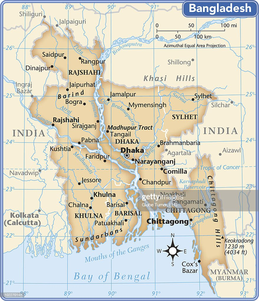 Bangladesh Country Map Vector Art Getty Images - Saidpur map
