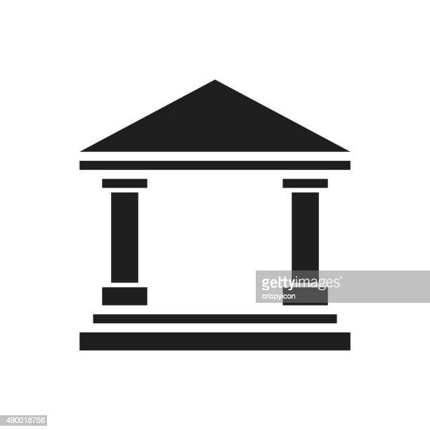 bank icon on a white background. - single series - politics and government stock illustrations, clip art, cartoons, & icons