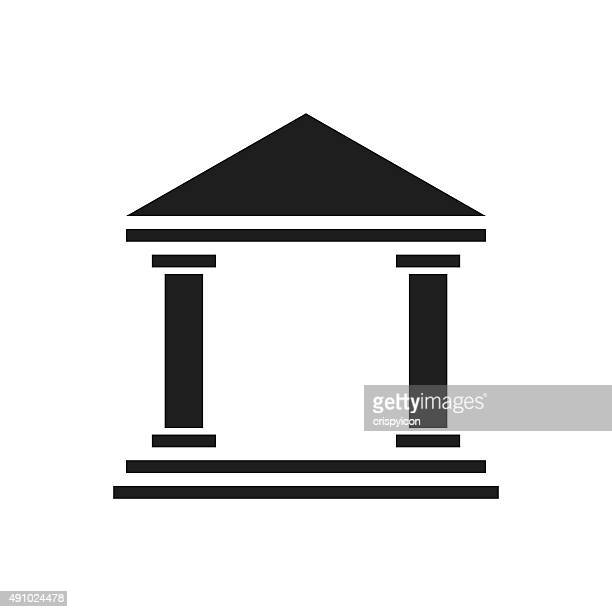 bank icon on a white background. - singleseries - politics and government stock illustrations, clip art, cartoons, & icons